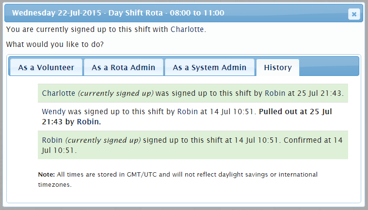 Screenshot of the new shift history panell