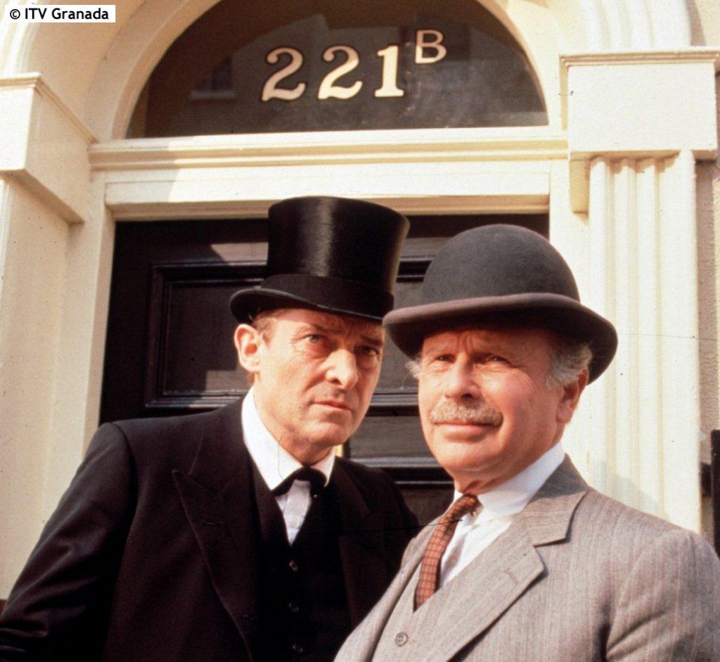 Photo of Jeremy Brett as Sherlock Holmes and Edward Hardwicke as Doctor Watson