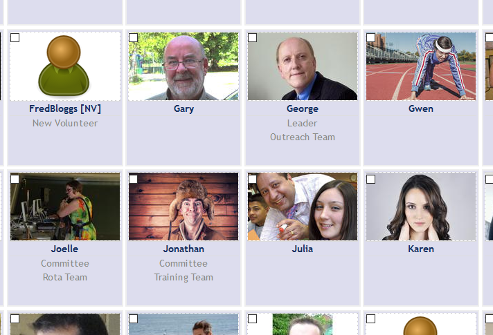 Screenshot of directory showing names, roles, and photos of volunteers