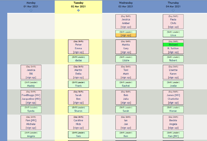 Screenshot of rota showing volunteers signed up to shifts at various times of day